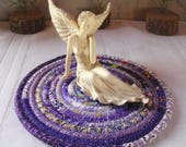 CUSTOM ORDER for TINA - 10 Inch Bohemian Coiled Purple Table Mat, Hot Pad or Trivet - Handmade by Me