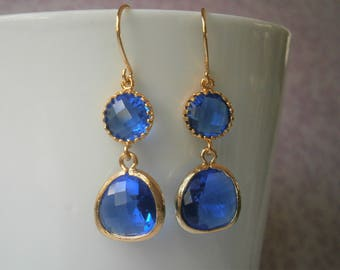 Cobalt Blue Earrings, Gold Earrings