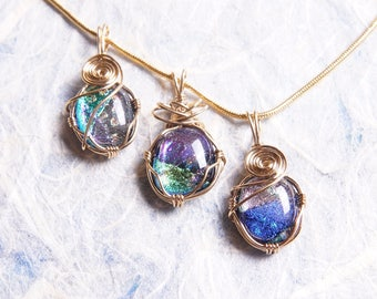 Lot of 3 Handmade Dichroic Gold Wire Wrap Fused Glass Pendants Necklaces