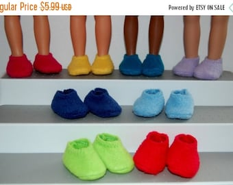 """Spring Sale Fleece Slippers-One Pair fit Corolle 13"""" Les Cheries or 14"""" Wellie Wishers Heart for Hearts Betsy McCall Mine to Love  tkct364 R"""