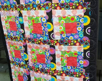 Baby quilt or lap quilt - modern log cabin