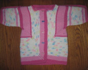 Toddler Sweater Cardigan Hand Knit 12 to 18 Months Easy Care Acrylic Wool Blend Baby Surprise Jacket Free US Shipping