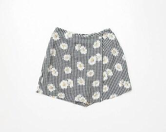 90s Floral Romper Shorts Mini Skirt 1990s Skorts Plaid Gingham Seersucker Summer Sunflower Daisy Soft Grunge Pastel Goth Pinup Mod Small