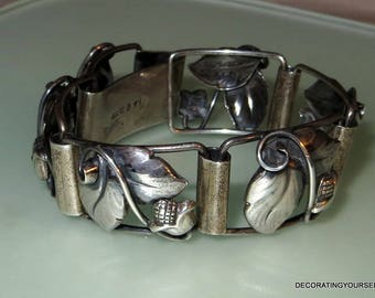 1948 Lundquist Sweden Flower Leaves Sterling Silver 925 Scandanavian Bracelet Panel Antique 34g