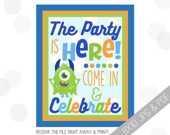 Monster Party Printables   Monster Welcome Sign   Door Sign   Little Monster Sign   Monster Party   Party Sign Monster  