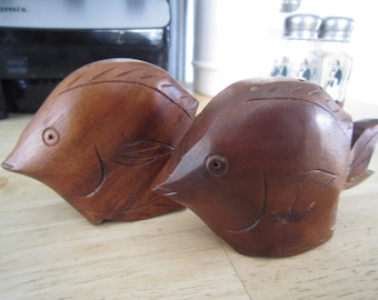 Mid Century Wooden Tropical Fish Salt and Pepper Shakers