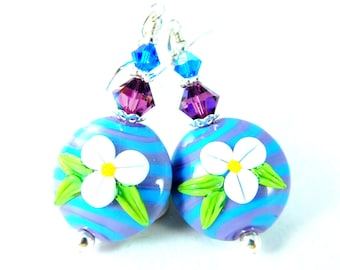 Summer Flowers & Striped Glass Dangle Earrings, White Blue Purple Floral Earrings, Whimsical Jewelry, Lampwork Earrings, Romantic Jewelry