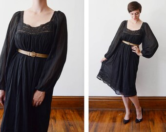 1970s Black Gauze Tent Dress - - S/M/L