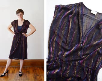 1970s Sparkly Striped Disco Wrap Dress - L