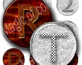 Digital Collage of Glass and Wooden  Letter Images  - 63  1 Inch Circles JPG images - Digital  Collage Sheet