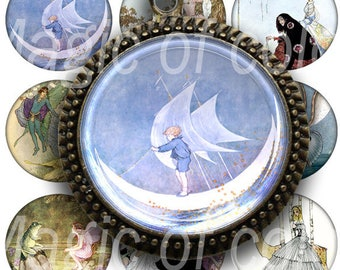 Digital Collage of  Subtle Fairy Tale Illustrations - 80  1x1 Inch Circle  JPG images - Digital  Collage Sheet