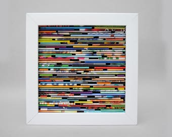 colorful SMALL square shadowbox wall art - made from recycled magazines, blue, green, red, purple, pink, yellow, orange, modern, texture