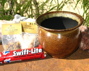 Altar Supply Kit~Steel Cauldron Censer with Sand, Coals and Two Packages of Incense~My Choice
