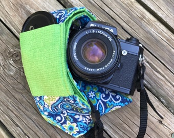 Ready To Ship Wide Camera Strap for DSL camera in NavyPaisley With Bright Green Reverse and Lens Cap Pocket