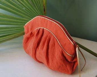 Tangerine linen clutch