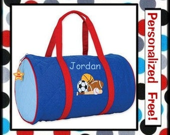 28 Fonts- Toddler Boy's Monogrammed SPORTS Small Quilted Overnight Duffle Bag Personalized FREE- Football, Baseball, Soccer, Basketball