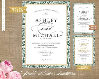Tropical Wedding Invitation, Emerald Palm Fronds, Gold or Rose Gold Border Frame, Foil, Any Color, Prints on Metallic or Matte Paper or DIY