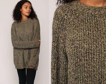 WOOL Sweater Knit 80s Slouchy Pullover Raglan Sleeve Flecked Black Tan Jumper Grunge 1980s Vintage Retro Nerd Extra Large xl