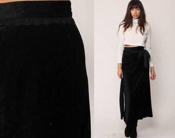 Velvet Maxi Skirt 90s Boho Black Velvet Grunge TRIPP NYC Long Vintage Hippie Gothic High Waist Straight Goth Party Column Small
