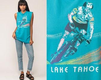 Bicycle Tank Top Bike Shirt LAKE TAHOE Graphic T Shirt 80s Retro TShirt Vintage Cyclist Print Turquoise Sleeveless Sports Medium Large