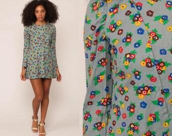 Puff Sleeve Dress Mini Floral Print 60s Mod Bohemian Hippie Shift Dress Vintage Blue 70s Gogo Boho Twiggy Long Sleeve Extra Small xs