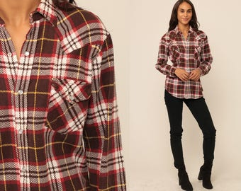 Pearl Snap Shirt 90s Plaid Flannel Shirt Grunge Brown Red Western Oversize Button Down up Vintage Long Sleeve Hipster Medium