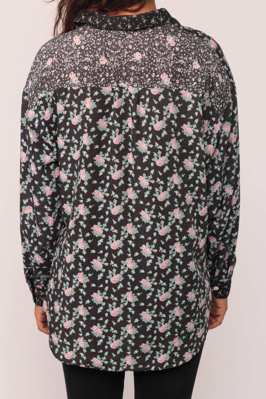 90s Button Up Shirt Floral Blouse Black Pink Flower Print Xl
