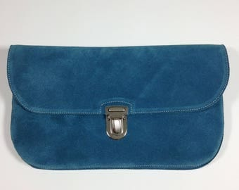 Teal Suede Clutch