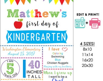 Blue editable printable First day of school sign | any grade Boys poster DIY Instant download Digital File PDF 16x20 or 20x30 or 11x14 8x10