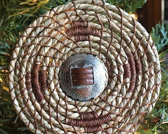 Brown Western Concho and Coiled Sea Grass Christmas Ornament