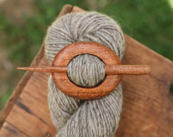 Madrone Shawl Pin - Handmade Wooden Shawl Pin -Wood Shawl Pin- Eco Knitting Supplies