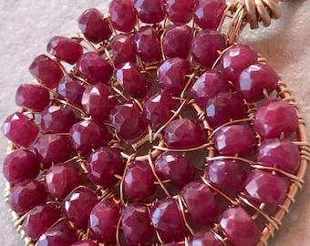 Ruby Pendant, Ruby Spiral Pendant, Ruby Ammonite Pendant, Ruby and Gold Pendant, Faceted Ruby Pendant, July Birthstone Jewelry, Ruby Jewelry