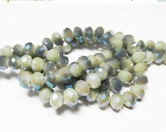 20% OFF LOOSE Glass Crystal Beads - 6x8mm Rondelles - Opaque Light Olive with Gray AB (10 beads) - gla1002