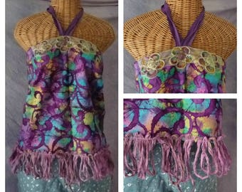 Calliope Halter Top Large, XL Tie Dye Batik Boho Gypsy Plum Bohemian Tribal Sari Silk Fringe Festival Clothing Hippie Womens