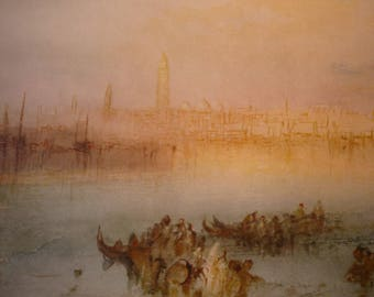 Riva Degli Schiavoni, Venice by J M W Turner, English water color 1949 - print for art lovers framable 11 by 14 inch frame