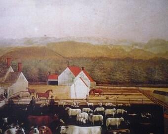 The Leedom Farm - Edward Hicks - The Peaceable Season 1849 Folk Art print framable - primitive Americana 1973 book plate Bucks County
