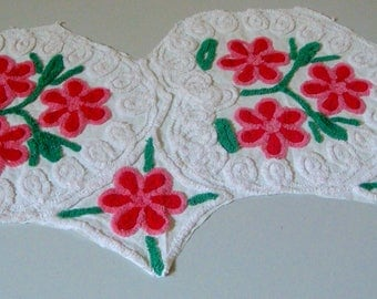 Beautiful Tonal Red and Pink Floral Hearts Vintage Chenille Fabric