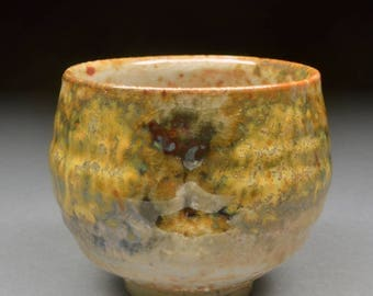 Handmade Stoneware Smaller Yunomi Tea Cup or large Guinomi Shaped like a Chawan Glazed with Carbon Trap Shino, Wood Ash, Rutile and Copper