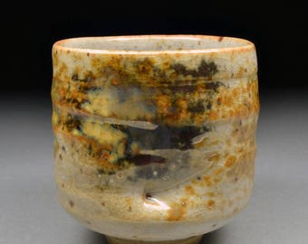 Amazing Handmade Stoneware Yunomi Tea Cup Glazed with Shino, Wood Ash, Copper and Rutile