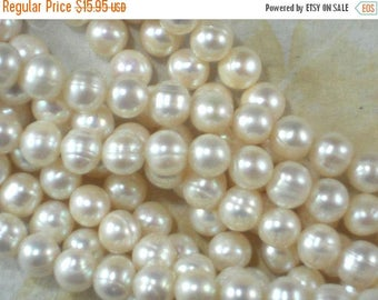 """ON SALE 50 Cream White Pearls Egg Baroque Potato 8mm High Luster Ringed Freshwater 15"""" Pearl Temp Strand (4297)"""