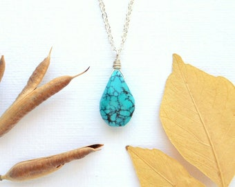 Turquoise necklace turquoise jewelry bohemian jewelry sterling silver december birthstone third eye necklace boho jewelry