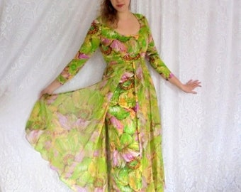 Moving Sale Designer Vintage Gown, Chiffon Overlay Maxi Dress