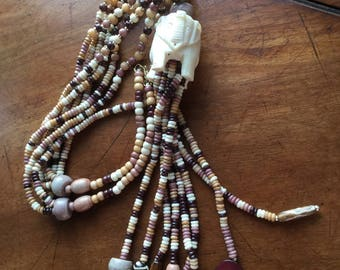 Vintage Tribal Carved Elephant & Multi Strand Bead Necklace W/Tassels
