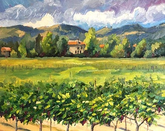 Original Oil Painting Winery, Vineyard, impressionist art, California landscape
