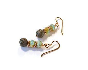 Essential Oils Diffusing Earrings, Czech Glass and Natural Lava Rock Stones, Aromatherapy Jewelry