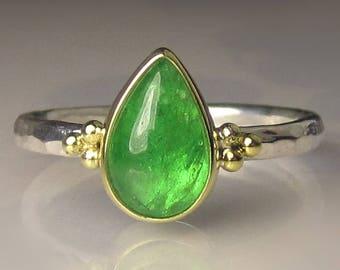 Tsavorite Ring, 18k Gold and Sterling Silver Granulated Ring, Tsavorite Cabochon Ring