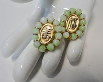 Vintage MARVELLA Gold tone and Faux Jade Good luck and Prosperity Asian Style  Clip/Screw Earrings.
