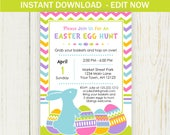 Easter Egg Hunt Invitation - EDIT NOW - 5X7 Bunny invitation instant download