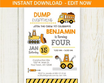 Construction Birthday Invitation EDIT NOW birthday party dump truck invitation Instant Download - digital