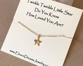 "CHILDREN'S and Adult ""Twinkle twinkle little star, do you know how loved you are?"" Gold Star Charm Necklace. ( Little Girl , Teenager)"